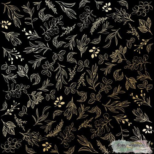 Лист односторонней бумаги с фольгированием Golden Branches Black