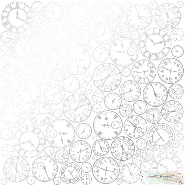 Лист односторонней бумаги с фольгированием SILVER CLOCKS WHITE