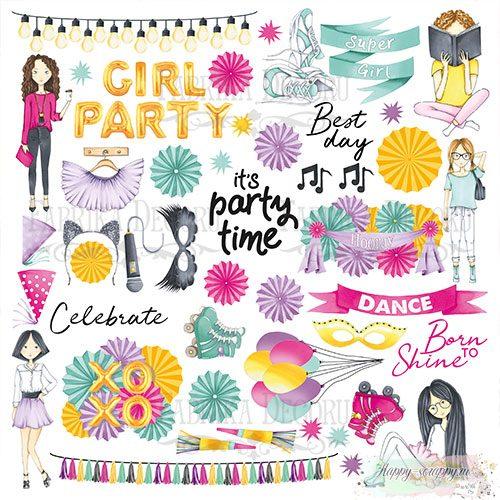 Лист с картинками для вырезания Party girl