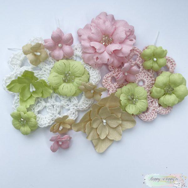 Мини набор цветов розово-зеленый