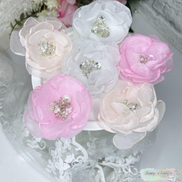Набор цветов из фетра теплый с бусинами