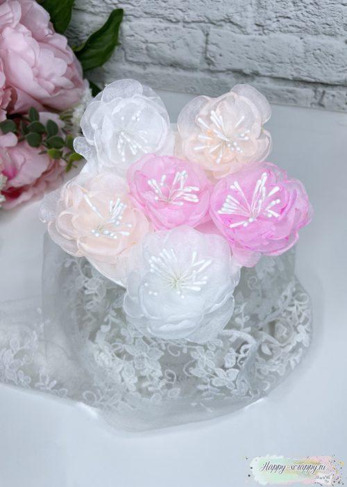 Набор цветов из фетра теплый с тычинками