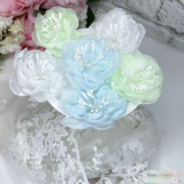 Набор цветов из фетра холодный с тычинками