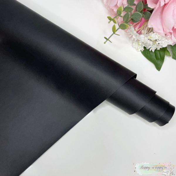 Переплетный кожзам матовый черный