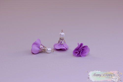 Кисточка цветочек с бусинкой фиалковая (1шт)