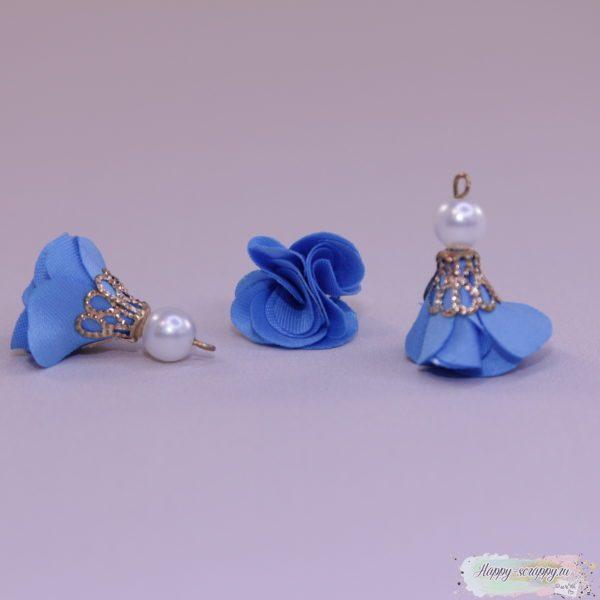 Кисточка цветочек с бусинкой голубая (1шт)