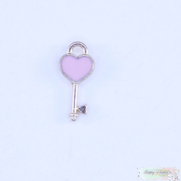 Подвеска ключик с сердечком розовый
