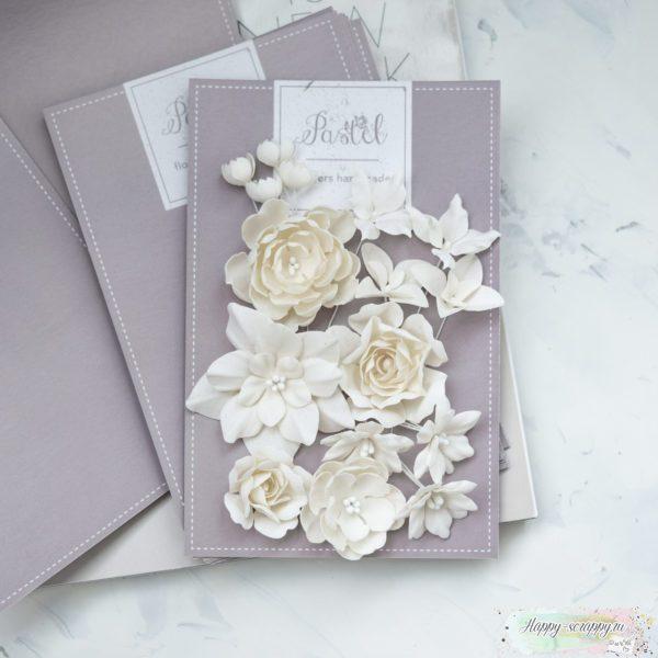 """Набор цветов Pastel flowers — """"Базовый микс"""" молочный"""