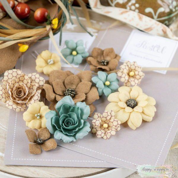 """Набор цветов Pastel flowers — """"Бархатная осень"""" бирюза"""