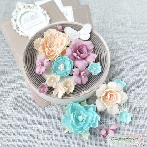 """Набор цветов Pastel flowers — """"Пионы и розы"""" мятно-персиковые"""