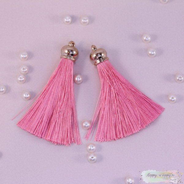 Кисточка шелковая большая с золотым колпачком розовая