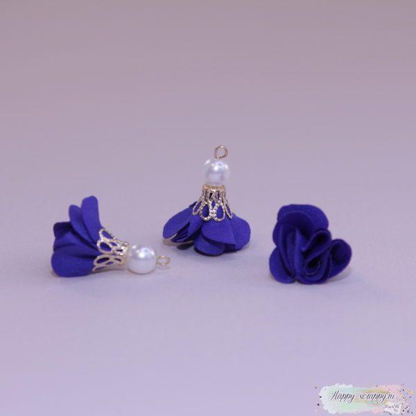 Кисточка цветочек с бусинкой синяя (1шт)