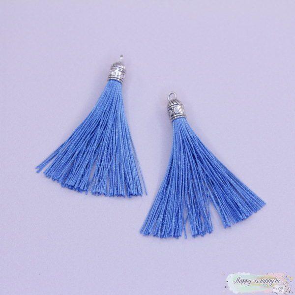 Кисточка шелковая с серебром - голубая (1шт)