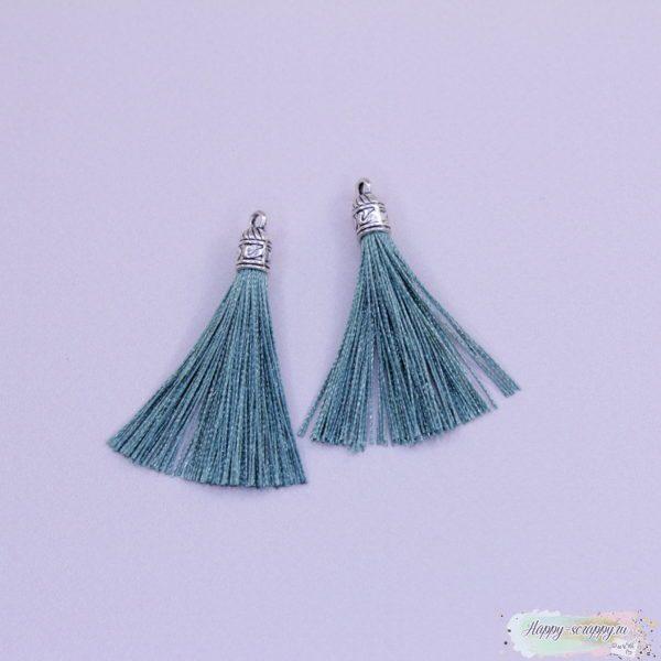 Кисточка шелковая с серебром - зеленая (1шт)