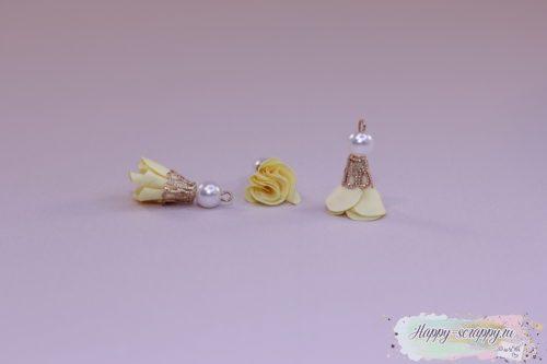 Кисточка цветочек с бусинкой желтая (1шт)
