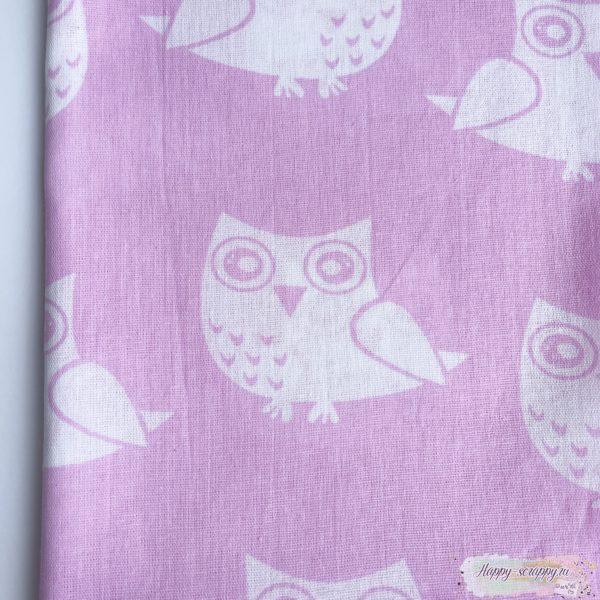 Ткань белые совы на розовом 50x70 см