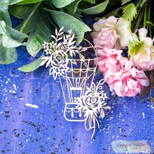 Чипборд из картона Воздушный шар в розах
