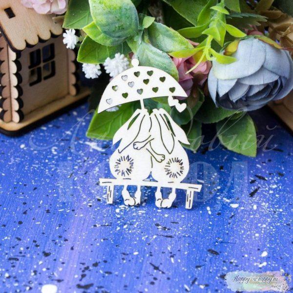 """Чипборд из картона """"Зайцы под дождем"""""""