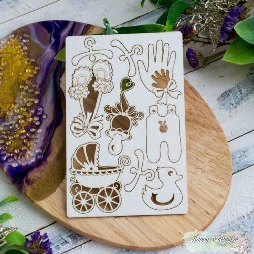 Чипборд из картона набор Детские вещи