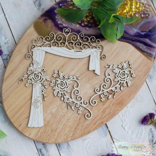 Чипборд из картона набор Свадебная арка