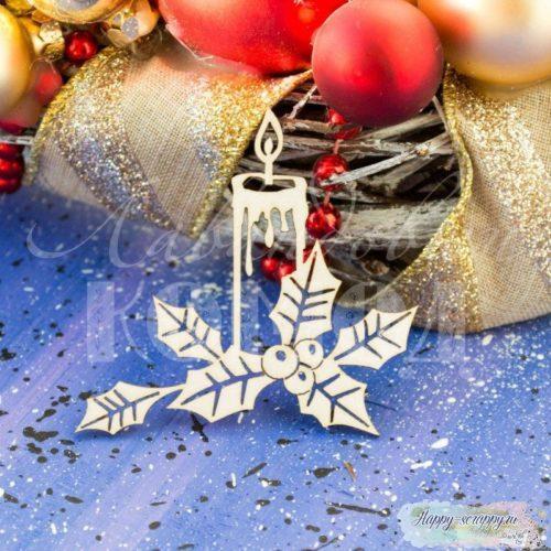 """Чипборд из картона """"Новогодняя свеча"""""""