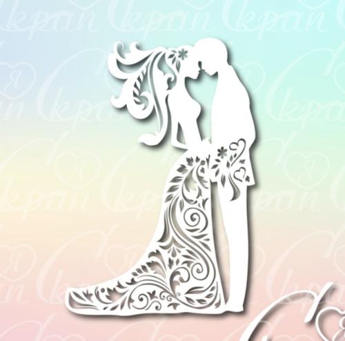 Чипборд из картона Свадебная пара №5