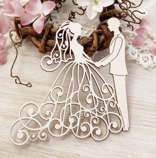 Чипборд из картона Свадебная пара №8