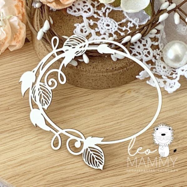 Чипборд из картона Рамочка овальная с листьями
