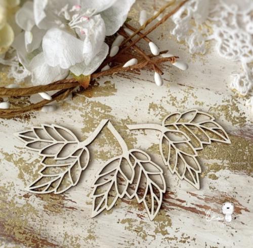Чипборд из картона Листья розы