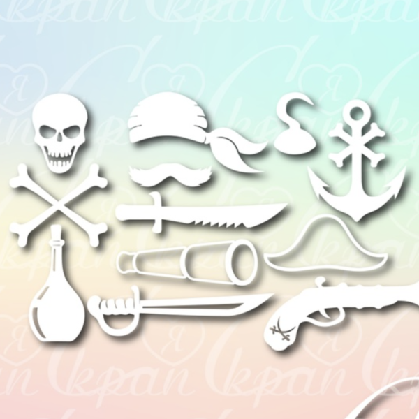 Чипборд из картона Пиратский набор