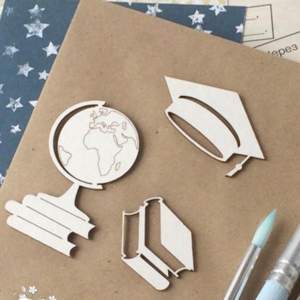 Чипборд из картона набор школьный из 3 предметов