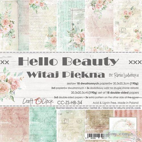 НАБОР БУМАГИ Hello Beauty ОТ Craft O'Clock 20x20