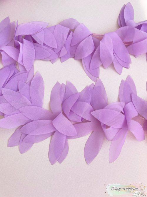 ШИФОНОВЫЕ ЛЕПЕСТКИ НА ЛЕНТЕ фиолетовые (45 СМ)