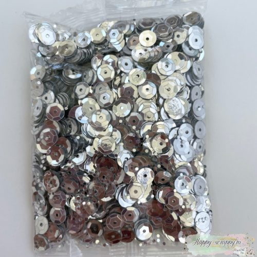 Пайетки серебро 6 мм.