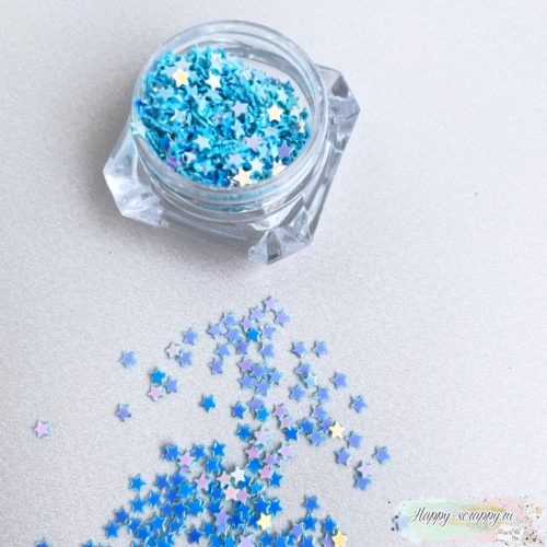Пайетки в граненной баночке мини звезды голубые