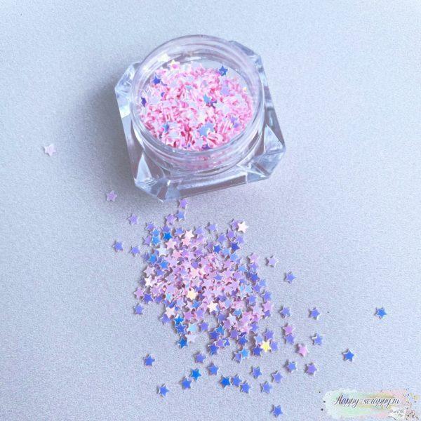Пайетки в граненной баночке мини звезды розовые