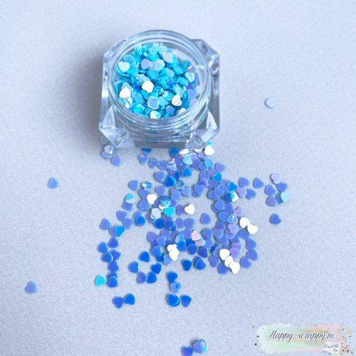 Пайетки в граненной баночке мини сердечки голубые