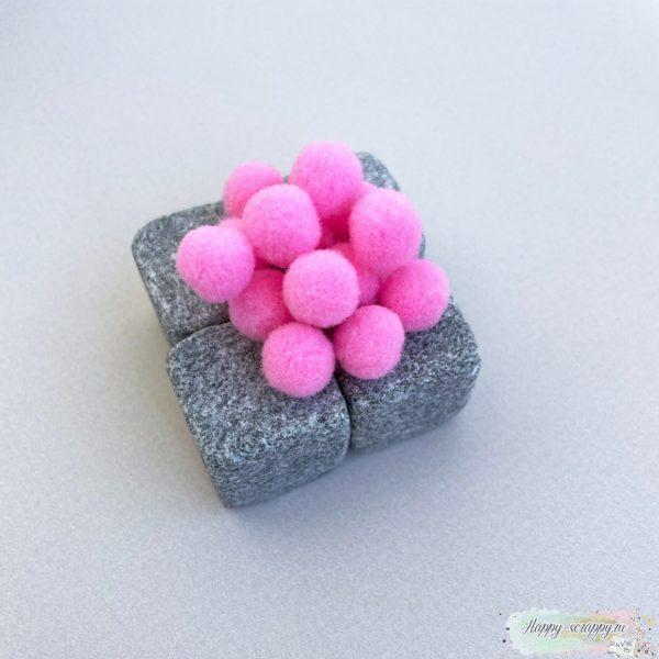 Помпоны розовые 1 см - 15 шт