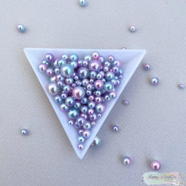 Жемчужины градиент розовый, белый, голубой, фиолетовый