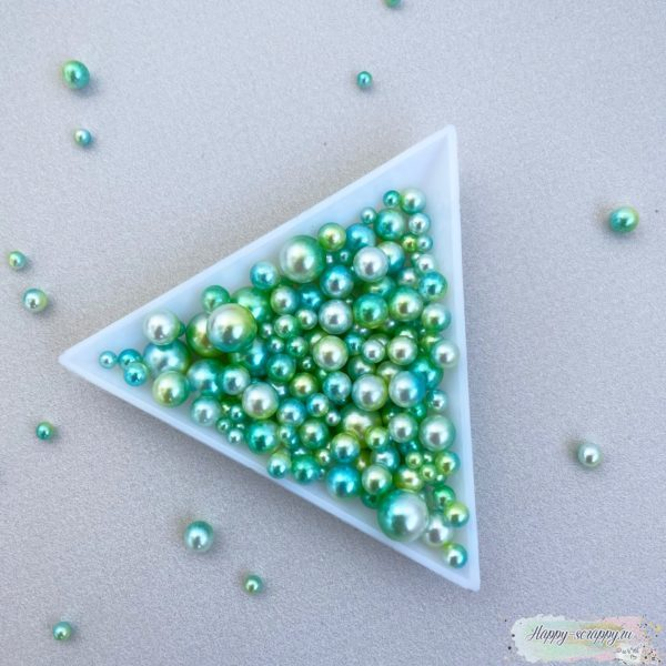 Жемчужины градиент зеленый, желтый, синий, белый