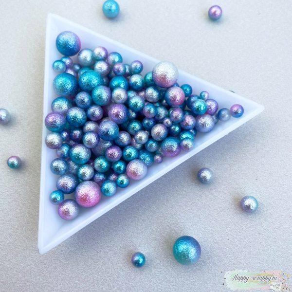 """Жемчужины """"мятые"""" градиент бирюзовый, фиолетовый, белый"""