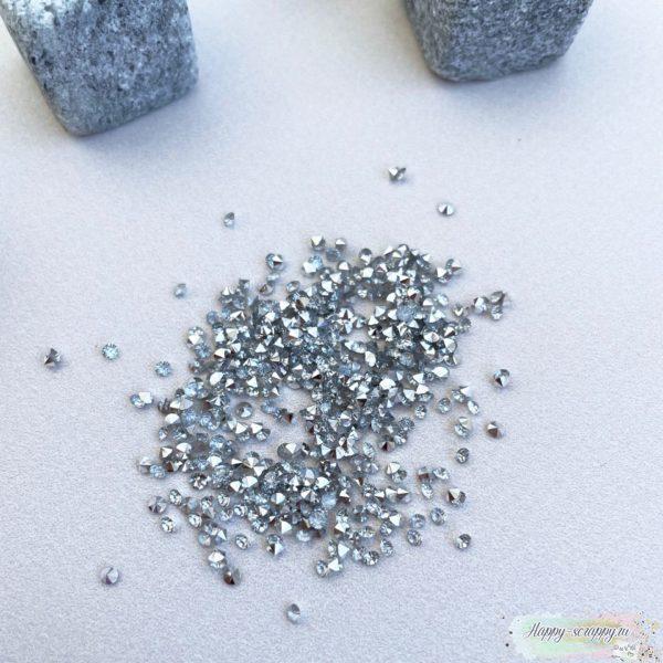 Кристаллы 2 мм. серебро 10 грамм в пакете