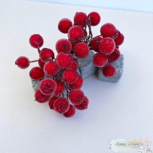 Ягодки сахарные красные 10 шт ок. 6 см длина 1 см диаметр ягодки