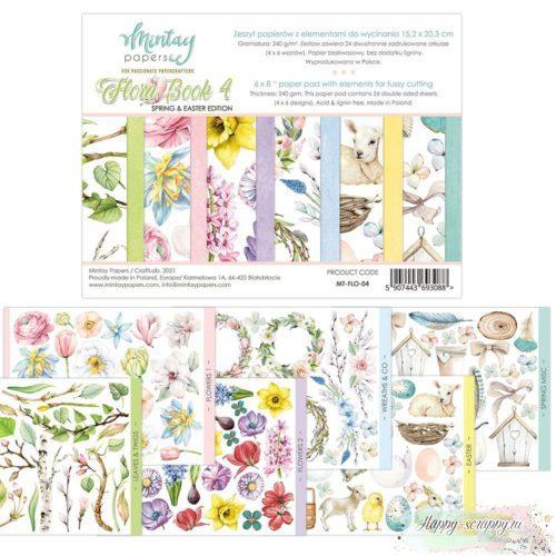 1/4 набора бумаги с элементами для вырезания Flora book 4 от Mintay papers
