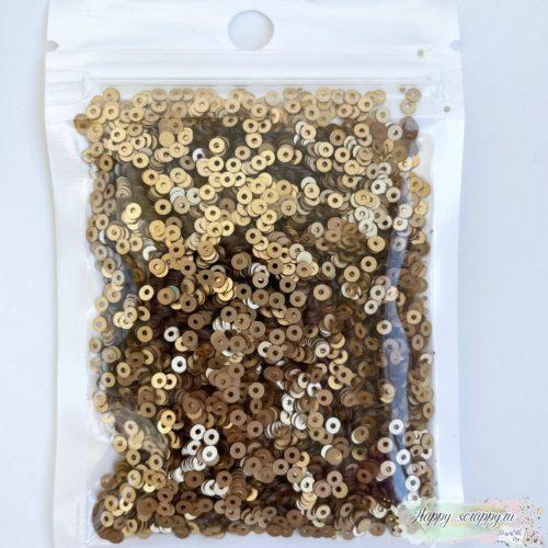 Пайетки плоские золото 10 гр.